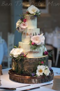 Rustic|semi naked|wedding cake